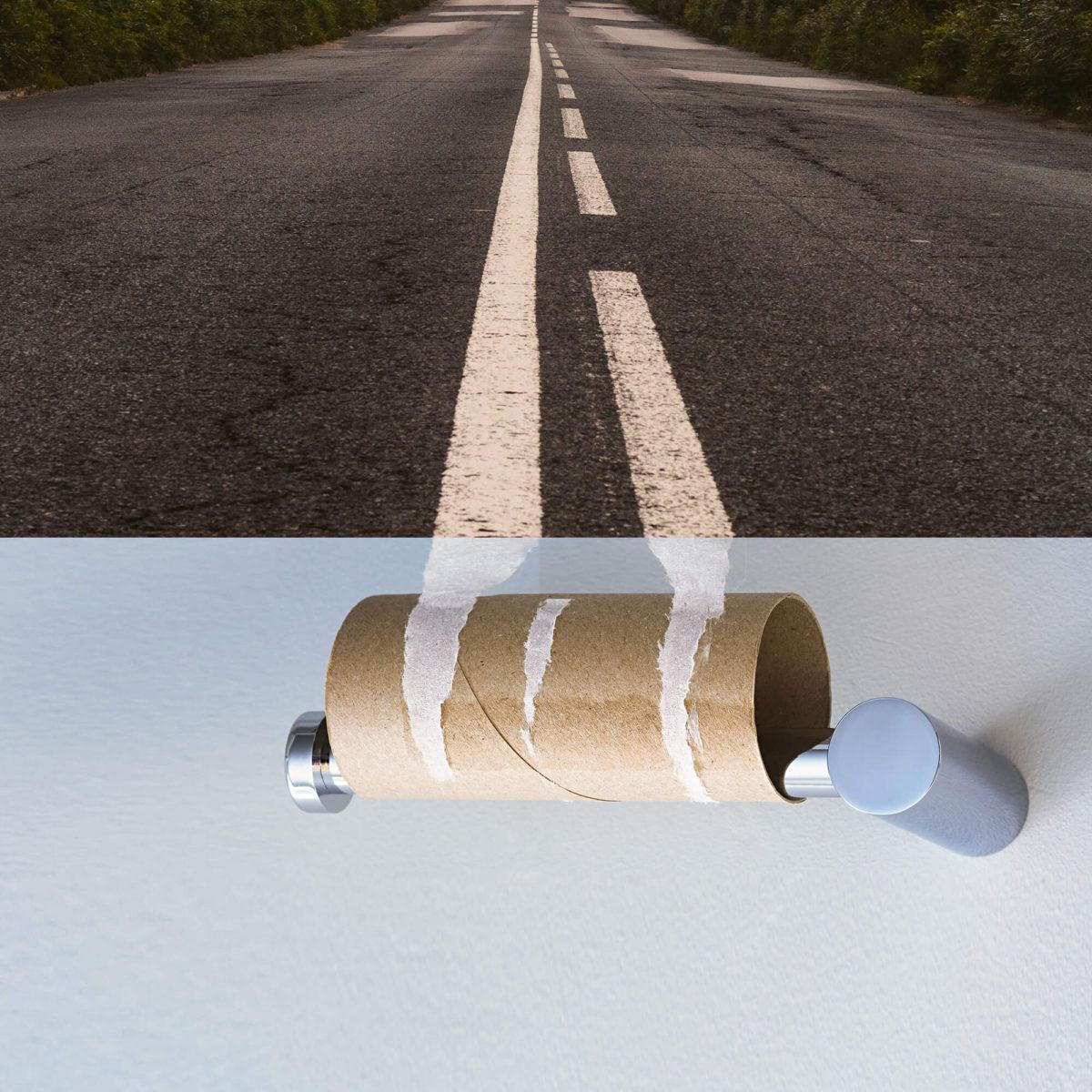 Hors paires route et papier toilette